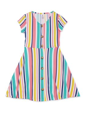 One Step Up Girls 4-16 Short Sleeve Flare Dress With Faux Wooden Buttons