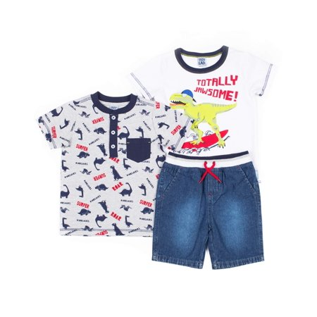 572814e71 Little Lad - Little Lad Short Sleeve Graphic T-shirt, All Over Dino Print  Raglan Pocket T-shirt, & Drawstring Short, 3pc Outfit Set (Baby Boys &  Toddler ...