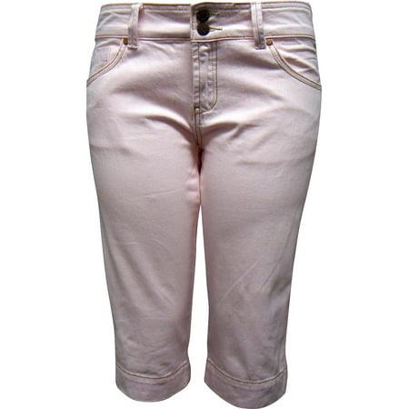 Women's Stretch pink capri Jean shorts 342-1 Short Womens Capris