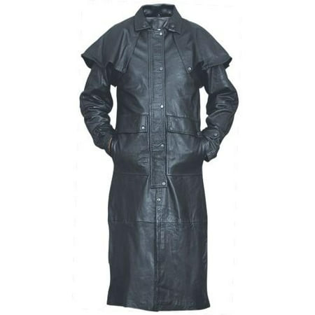 Boys Duster Jacket (Men's Boy 4XL Size Black duster in Light Weight Soft Buffalo Leather With Black)