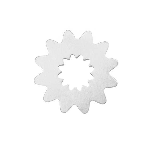 Sterling Silver Steampunk Sunburst Gear Stamping Blank 24.5mm (1)