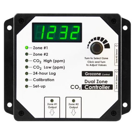 Grozone Controls CO2D 0-5000 PPM Dual Zone CO2 Controller for -