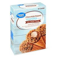 Great Value Chocolate Dipped Vanilla Flavored Ice Cream Cones, 34.4 oz, 8 Count