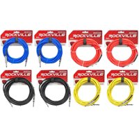 """8 Rockville 20'  1/4"""" TS-1/4'' TS Guitar/Instrument Cable (4 Colors x2 of each)"""