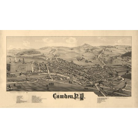 Historic Map of Camden New York 1885 Oneida County Canvas Art -  (18 x 24)