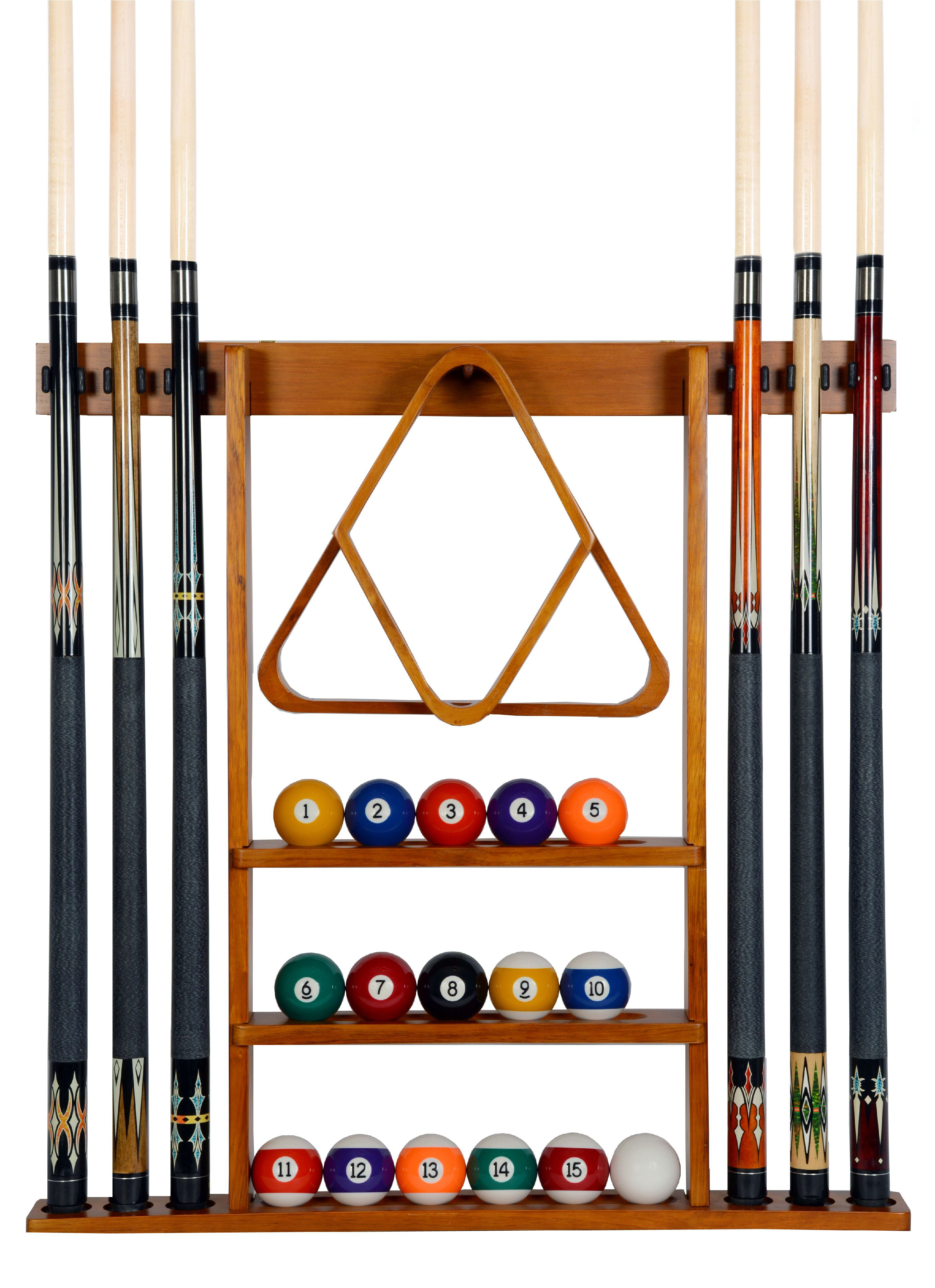 Alomejor Pool Stick Holder Wooden Billiard Cue Racks Pool Cue Stand Pool Cue Wall Mounted Rack Holds Up To 6 Cues