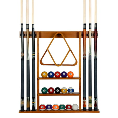 Pool Cue Rack Only - 6  Billiard Stick + Ball Set  Holder Oak Finish Wall Mount