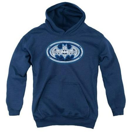 Trevco Batman-Cyber Bat Shield - Youth Pull-Over Hoodie - Navy, Medium