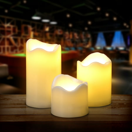 3PCS/set LED Flameless Candles Battery Operated Smokeless for Wedding Party Decorations Warm White - Bulk Flameless Candles