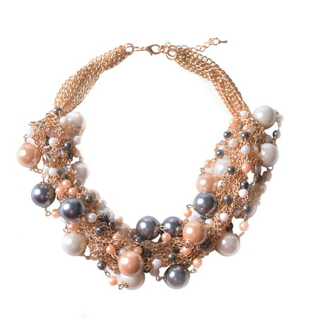 Cluster Imitation Pearls Multi Strands Bubble Collar Choker Bib Chunky Necklace Coffee for Mother's Day Gift - Bubble Necklaces
