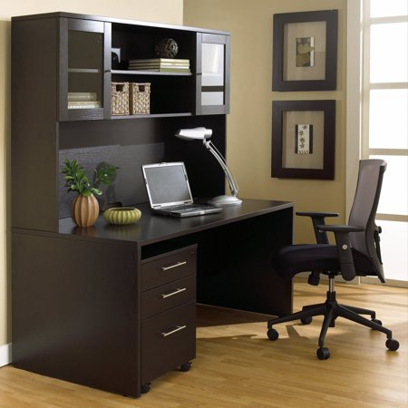 Jesper Office 100 Series Executive Desk And Hutch With Mobile Pedestal Espresso