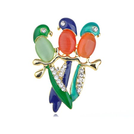 Colorful Parrot Budgie Chirping Friends Clear Crystal Rhinestone Bird Pin Brooch