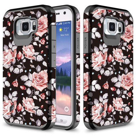 Galaxy S6 Active Case, TownShop Hard Impact Dual Layer Shockproof Bumper Case for Samsung Galaxy S6 Active G890 - Pink Rose