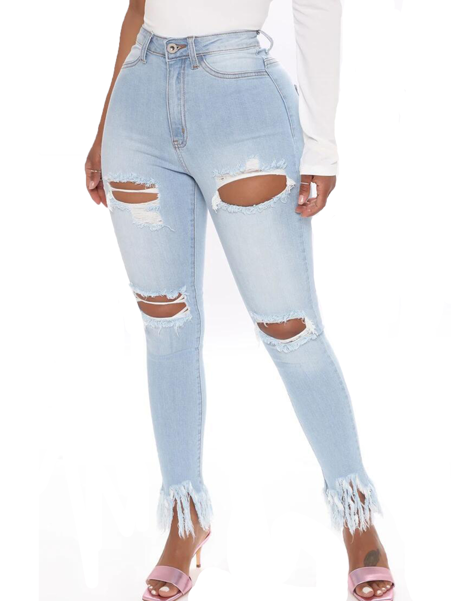 Emma Womens High Waisted Pencil Jeans Skinny Destroyed Ripped Hole Denim Pants Long Stretch Trousers Loose Plus