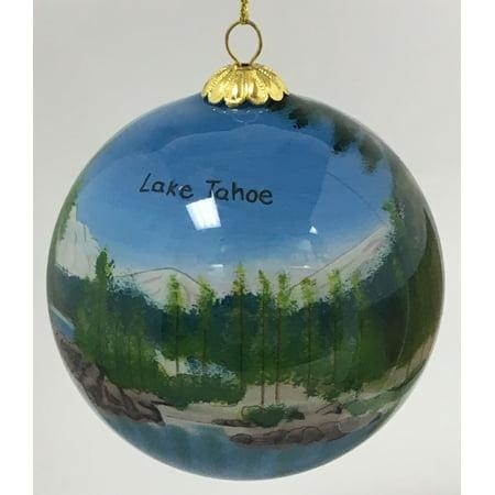 - Lake Tahoe Nevada Scenic Reverse Painted Glass Ball Christmas Tree Ornament New