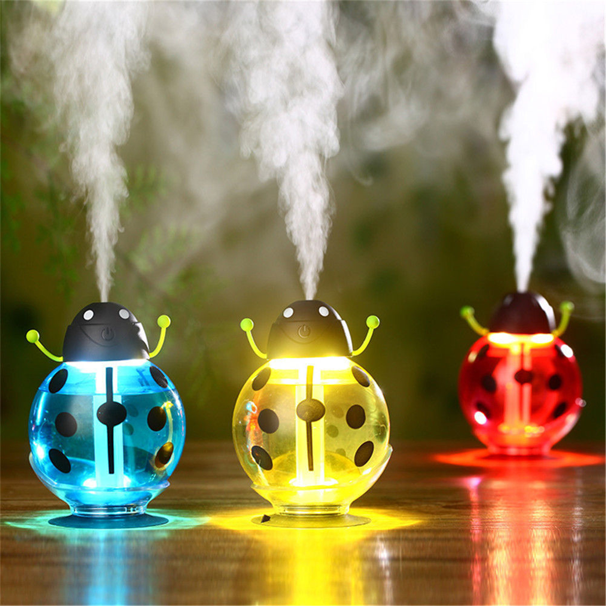 Luckyfine 5V 2W Beetles Ladybug Aroma LED Light USB Humidifier Air Diffuser Essential Oil Aromatherapy Purifier Mist Maker Car Office Home Air Frshener