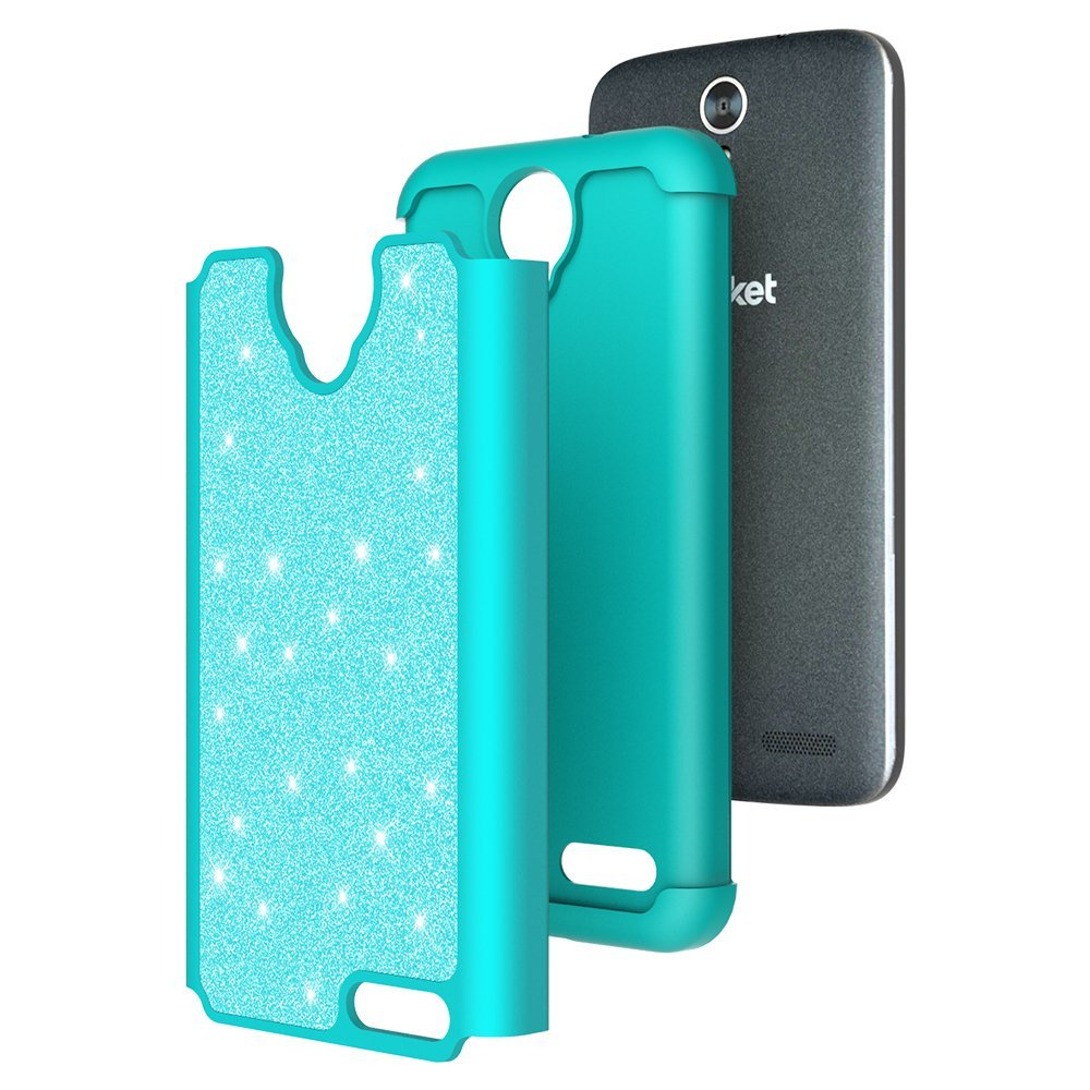 ZTE ZMAX Grand, ZTE Champ, ZTE Avid 916, ZTE Grand X 3 Case, Glitter Bling Hybrid Case with [HD Screen Protector] Dual Layer Protective Phone Case Cover for ZTE ZMAX Grand/Champ - Mint - image 1 de 5