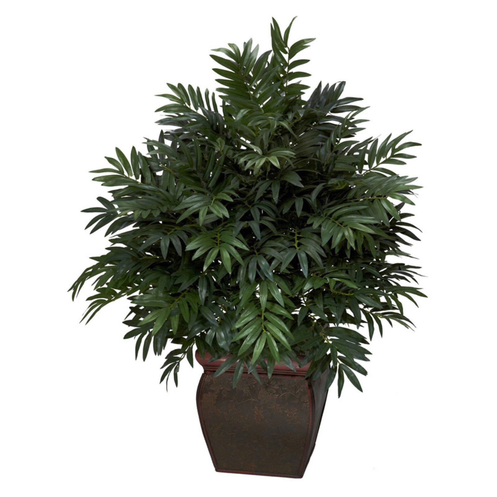 Triple Bamboo Palm with Decorative Planter Silk Plant