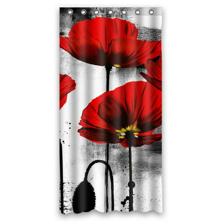 GCKG Vintage Red Poppy Flower Bathroom Shower Curtain, Shower Rings Included Polyester Waterproof Shower Curtain 36x72 Inches - image 4 de 4