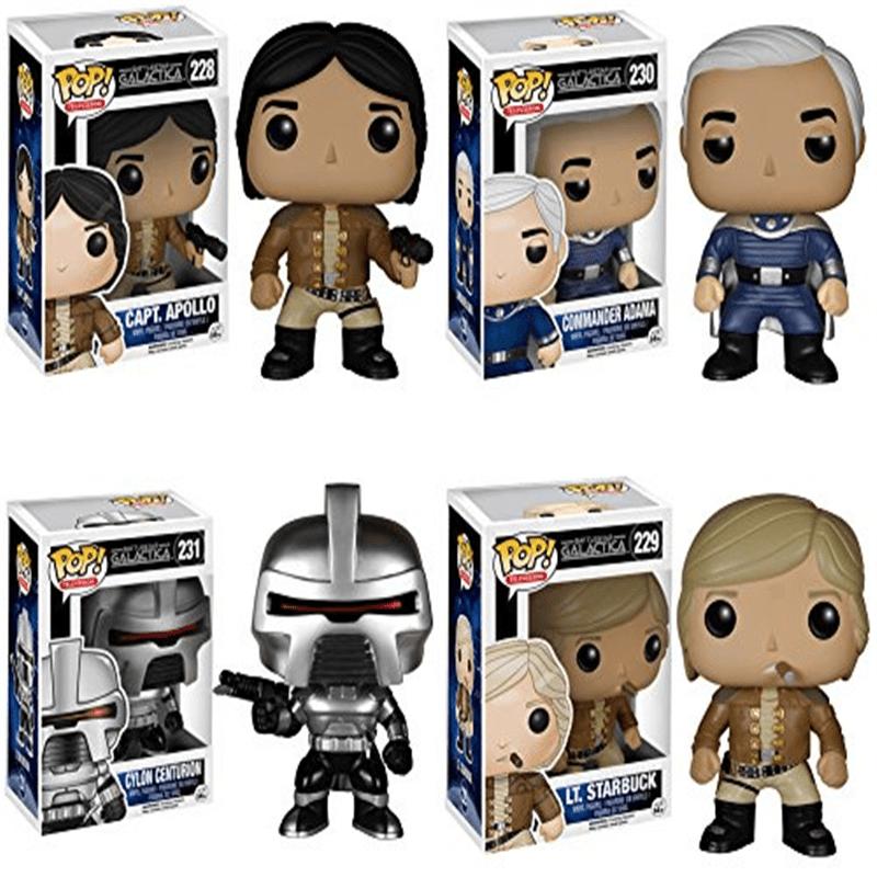 Battlestar Galactica Classic Cylon Centurion, Capt. Apollo, Commander Adama and Lt. Starbuck Pop! Vinyl Figures Set of 4