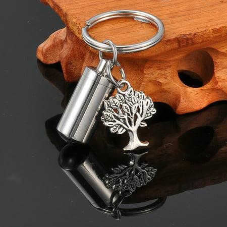 Cylinder Keepsake - Tree of Life Cylinder Cremation Jewelry Keepsake Memorial Urn Key Chain