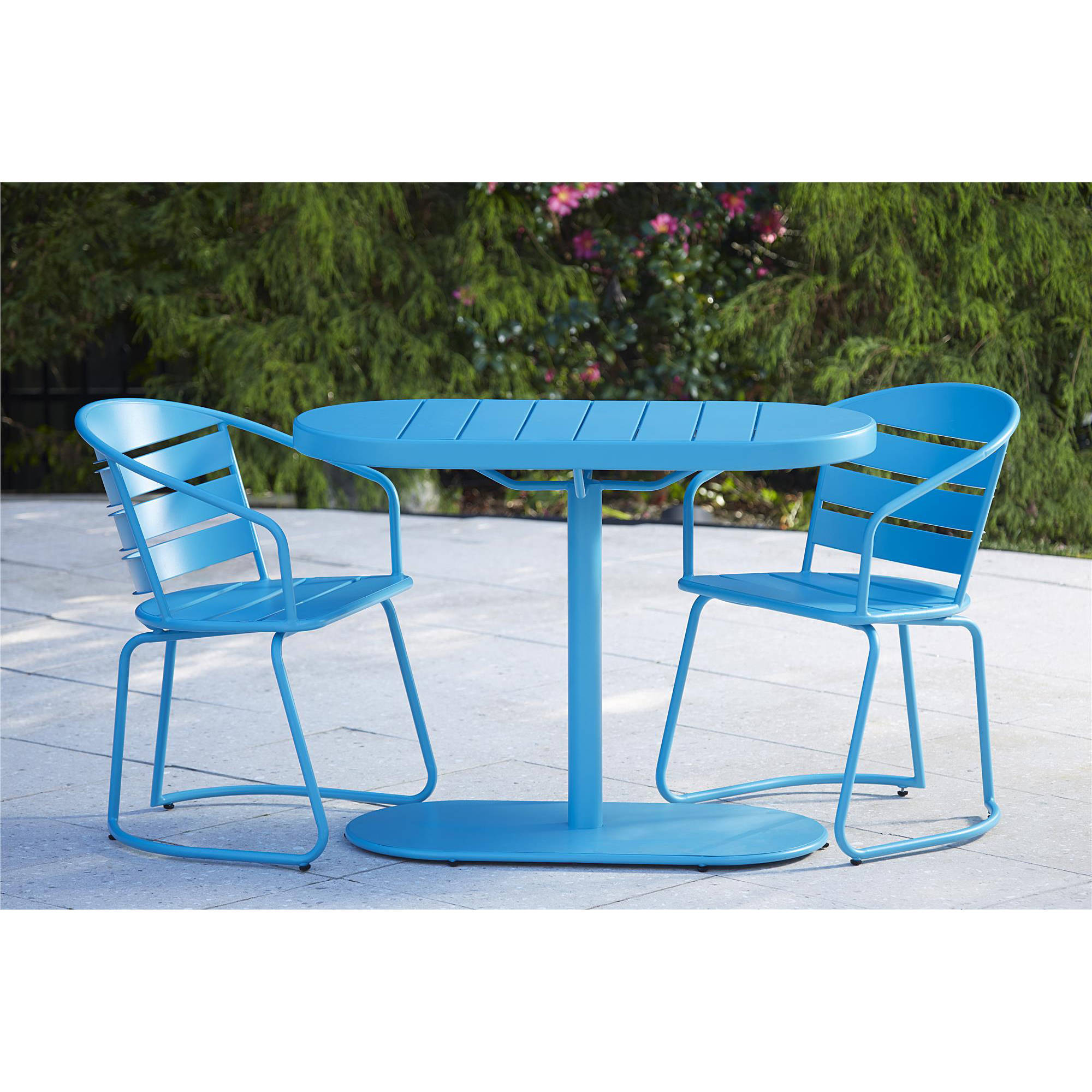 Cosco Outdoor 3-Piece Metro Retro Nesting Bistro Steel Patio Furniture Set, Assembled, Teal