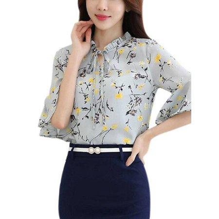 Winsellers Summer Fashion Women's Casual Chiffon Blouse Clearance Flare Sleeve Floral Print Shirts Top