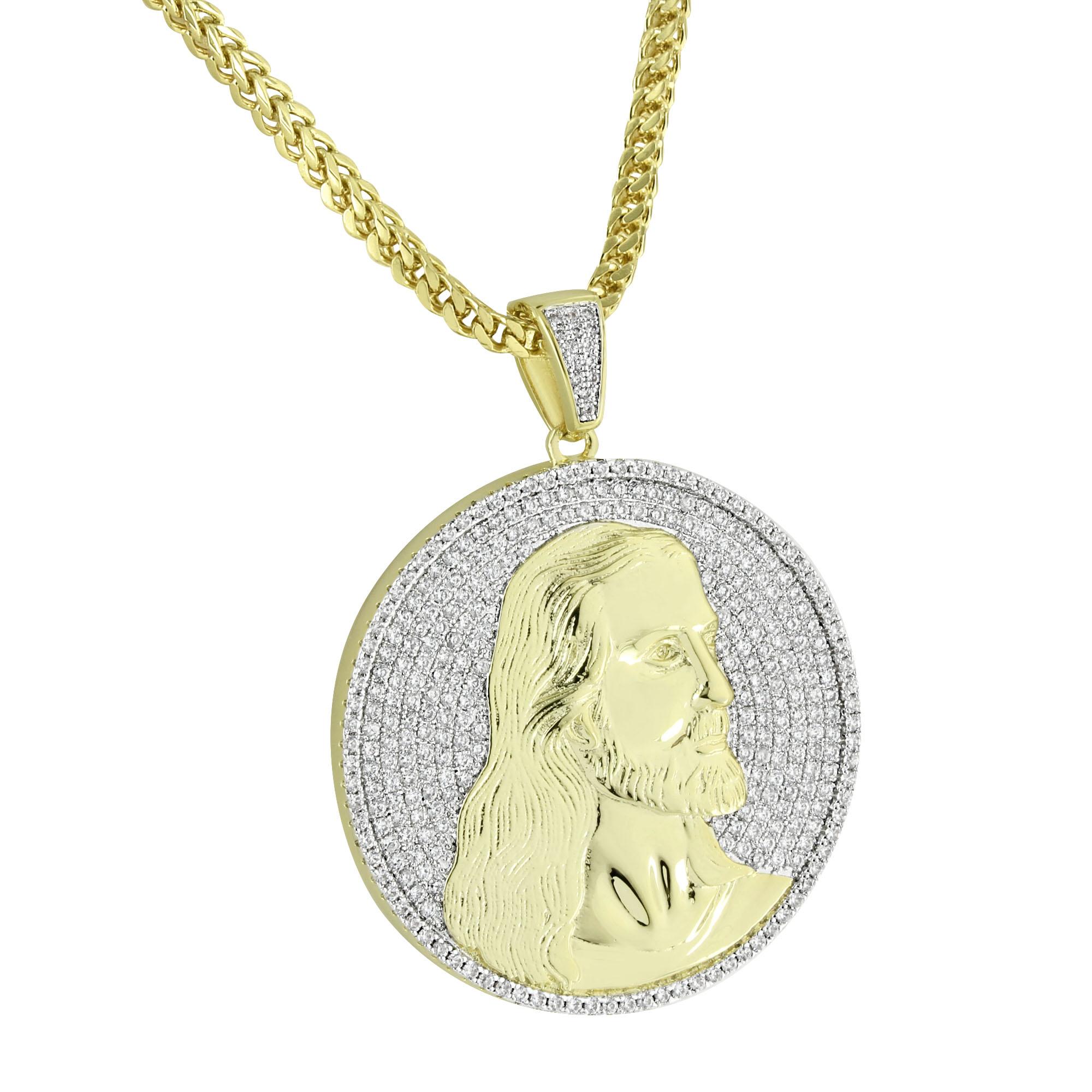 Jesus Christ Coin Pendant Designer Round Micro Pave Lab C...