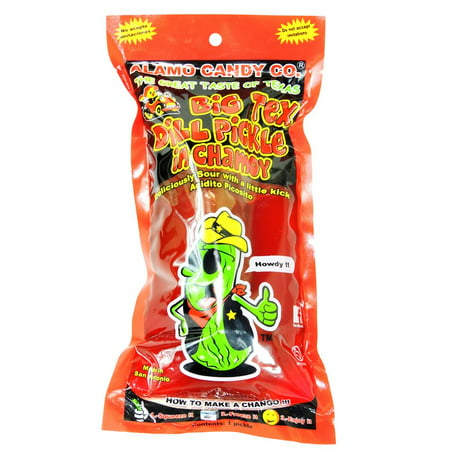 ALAMO CANDY CO. BIG TEX DILL PICKLE IN CHAMOY 12ct](Big Lollipops)