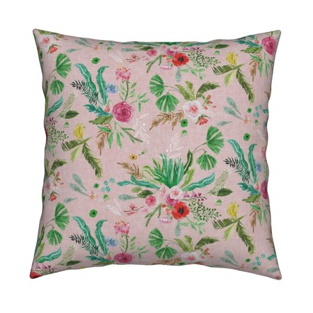 Jungle Jungle Floral Pink Green Throw Pillow Cover w Optional Insert by