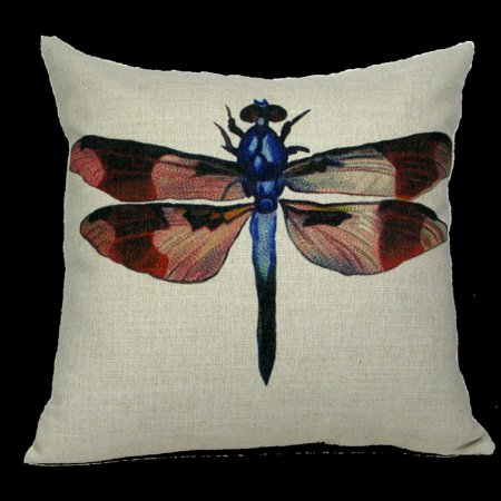 """18"""" Antique Style Dragonfly Decorative Accent Throw Pillow Cover with Insert"""