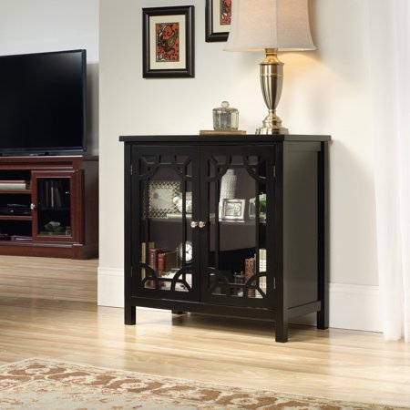 Sauder Palladia Display Cabinet, Black Finish