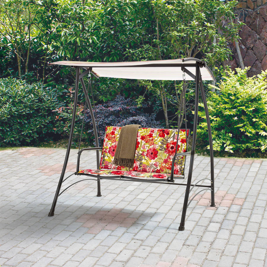 Mainstays 2-Person Padded Swing, Floral