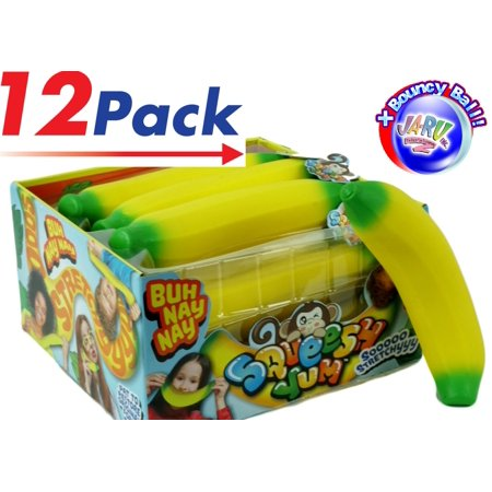 Super Bouncer - JA-RU Super Stretchy Banana (Pack of 12) and 1 Bouncy Ball Bundle Stretches Long & Shrink Slow. Soft Delicious Toy | Item #3340-12p