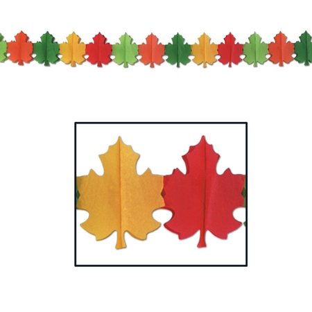 Club Pack of 12 Red, Green, Yellow and Orange Fall Leaf Tissue Garland Party Decorations 12'