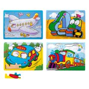 Eliiti Wooden Vehicles Jigsaw Puzzles Set for Boys Kids 3 to 5 Years Old