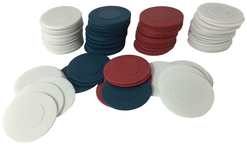 Box of 100 Plastic Red White and Blue Poker Chips by Rhode Island Novelty