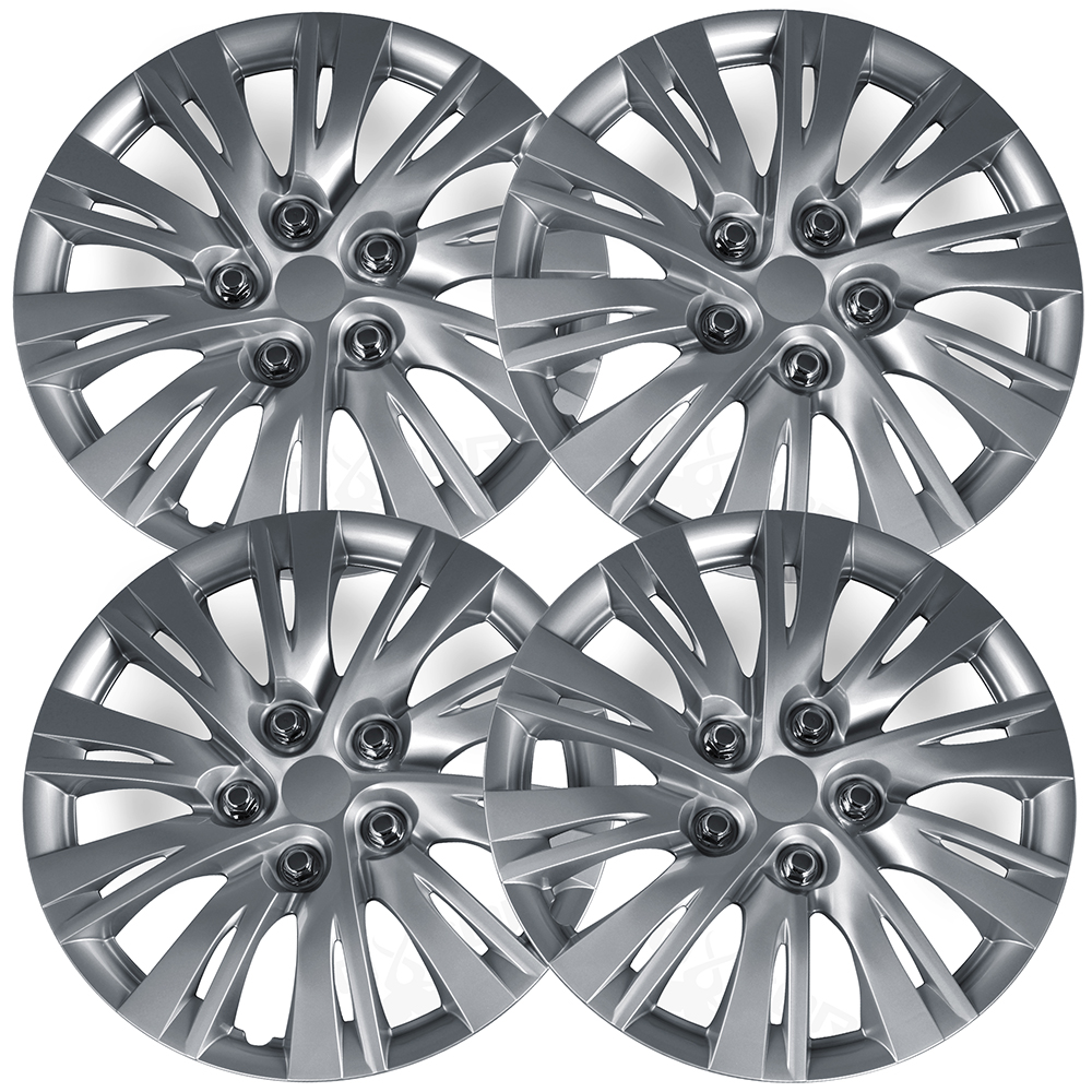 """OxGord 16"""" inch Silver Wheel Covers for 2012-2014 Toyota Camry - Set of 4"""