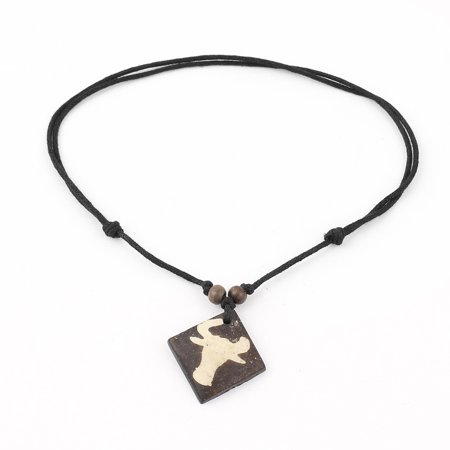 Unique Bargains Tribal Faux Yak Bone Cow Pattern Square Plate Pendant Adjustable Cord Necklace