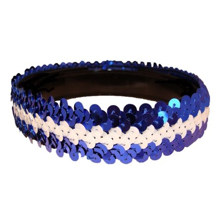 Kenz Laurenz Sequin Headband Girls Headbands Sparkly Hair Head Bands Blue (Teenage Girl With Brown Hair And Blue Eyes)