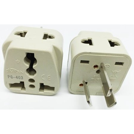 Simran 2 Outlet USA to Australia, China, New Zealand Grounded Plug Adapter (PG-403), CE and RoHs Compliant (Outlets Online Usa)