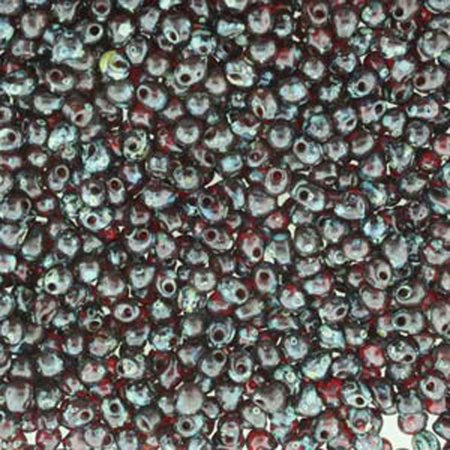 Garnet Picasso Miyuki 3.4mm Fringe, Loose Seed Beads, Glass Tear Drops 25 - Garnet Bead Drop
