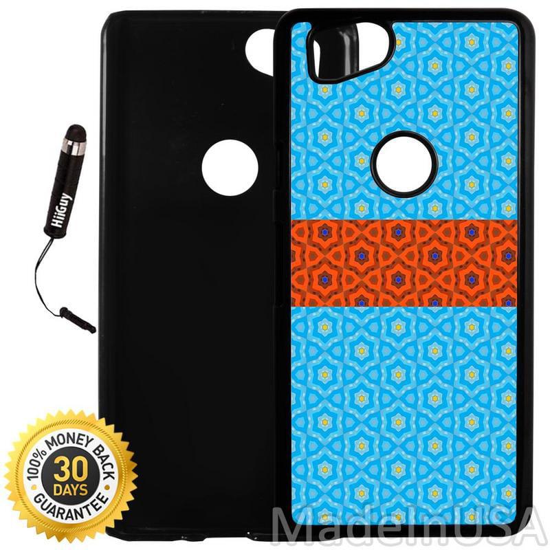 Custom Google Pixel 2 Case (Blue Orange Pattern Design) Plastic Black Cover Ultra Slim | Lightweight | Includes Stylus Pen by Innosub