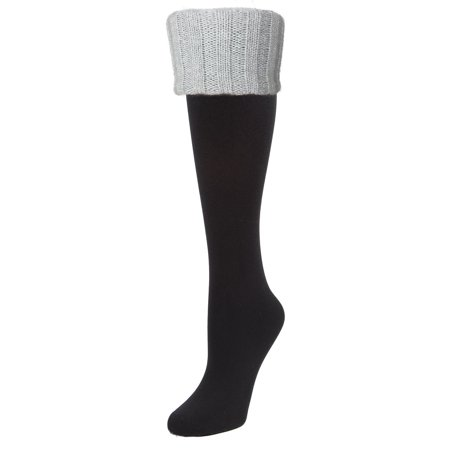 MeMoi Leeds Cuffed Fleece Knee High | Women Winter Socks by MeMoi One Size 9-11 / Black/Silver Lurex MF7 5220