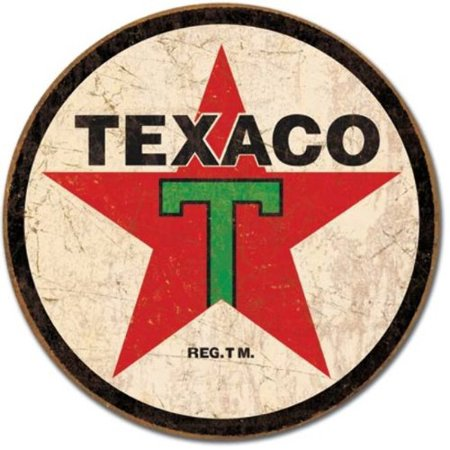 Logo Plaque Black (Texaco '36 Logo Round Distressed Retro Vintage Tin Sign)