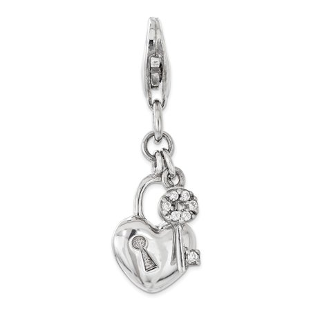 Amore La Vita Sterling Silver with CZ Lock and Key Heart Click-On Lobster Clasp Charm Pendant (Tiffany Heart Lock Pendant)