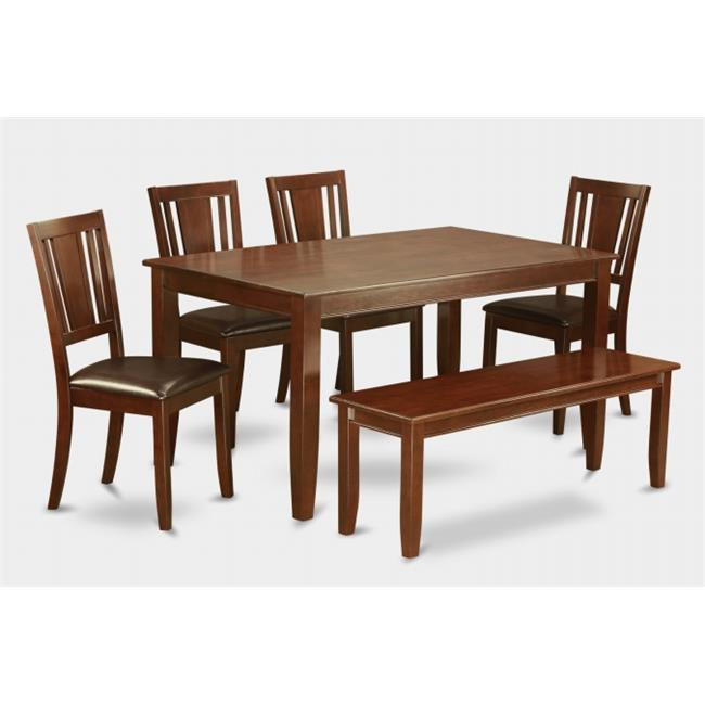 East West Furniture DUDL6D-MAH-LC 6 -Piece Dudley 36 in. x60 in. Table, 4 Faux Leather Seat Chairs and one 52-in Long Bench
