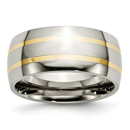 Titanium 14k Gold Inlay Rings (Titanium 14K Yellow Inlay 10mm Polished Ring - Size)