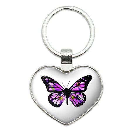 - Butterfly with Flowers Heart Love Metal Keychain Key Chain Ring