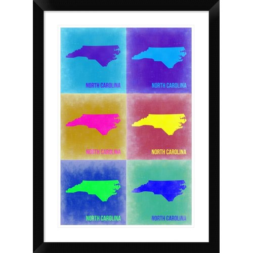 Naxart 'North Carolina Pop Art Map 2' Framed Graphic Art Print